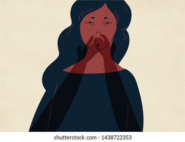 Pair of translucent ghostly hands covering mouth of young woman. Concept of inability to tell about experience of sexual abuse, assault, violence, psychological problem. Colorful illustration.