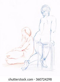 The pair of  women, red and blue, pencil sketch