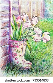 A pair of women's rubber boots with a beautiful pattern on the bootleg are standing close to a wooden fence outside in the summer courtyard on the grass. Illustration. Watercolor pencils
