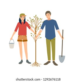 Pair of young cheerful male and female volunteers or ecologist planting tree in park together isolated on white background. Ecological volunteering, altruistic activity. Cartoon illustration