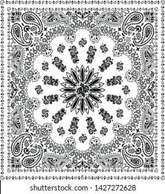 Paisley Black and White Bandana Pattern Seamles
