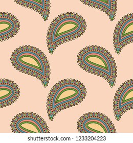 Paisley buta colored ornament. Seamless pattern. Decorative oriental design. Illustration. Raster version