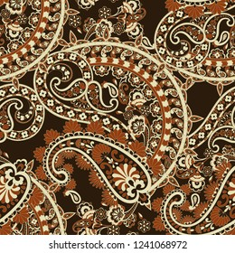 Paisley elegance seamless pattern with ethnic flowers and leaf, floral illustration in vintage style