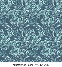 Paisley floral illustration in damask style. seamless background