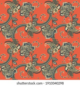 Paisley Floral oriental ethnic Pattern. Seamless Ornament. Damask fabric patterns