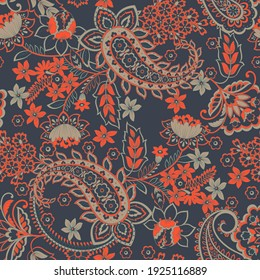 Paisley Floral oriental ethnic Pattern. Seamless Ornament. Damask fabric patterns.