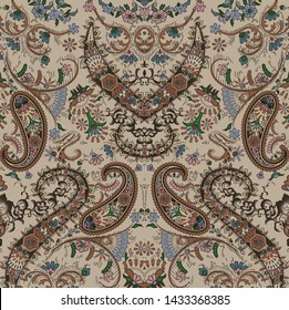Paisley pattern vintage floral background
