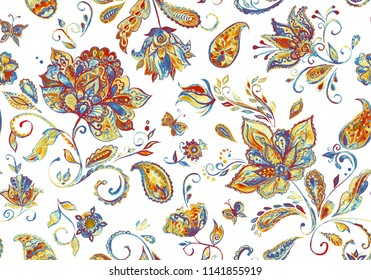 Paisley seamless hand painted water color floral pattern with beige flowers, flores, tulips. Grunge watercolor vintage oriental paisley print. Whimsical background design. Isolated objects on white.