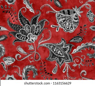 Paisley seamless hand painted water color floral pattern with amber flowers, flores, tulips. Grunge watercolor vintage oriental paisley print. Colorful whimsical dark red background for design.