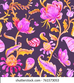 Paisley seamless hand painted water color floral pattern with lilac flowers, flores, tulips. Bright watercolor vintage oriental paisley print. Oriental colorful whimsical background arabesque design.