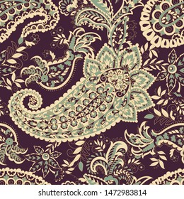 Paisley seamless pattern. Ethnic background