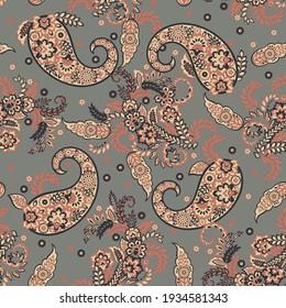 Paisley seamless pattern. Fantastic flower, leaves. Textile bohemian print. Batik painting. Vintage