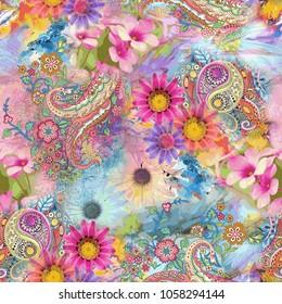 paisley seamless pattern with flower pattern