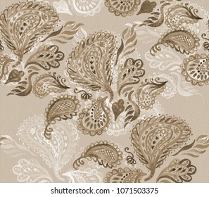 Paisley Watercolor Ethnic Seamless Pattern. Indian Artistic Handmade Batik  Print. Swimwear Fabric. Hand 11c7a489fc