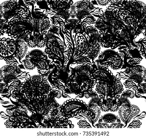 Paisley Watercolor Ethnic Seamless Pattern. Indian Artistic Handmade Batik Print. Swimwear Fabric. Hand Painting Retro Design. Indonesian Batik Dye. Botanical Bohemian Oriental Batik Fabric.