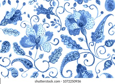 Paisley watercolor floral pattern tile:  flowers, flores, tulips, leaves. Oriental indian traditional hand painted water color whimsical seamless print, ceramic design. Abstract india batik background