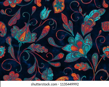 Paisley watercolor floral pattern tile  flowers 894a09d79b