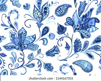 Paisley watercolor floral pattern tile:  flowers, flores, tulips, leaves. Oriental indian traditional hand painted water color whimsical seamless print, ceramic design. Isolated object on white