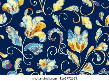 Paisley Watercolor Floral Pattern Tile With Flowers Flores Tulips Leaves Oriental Vintage