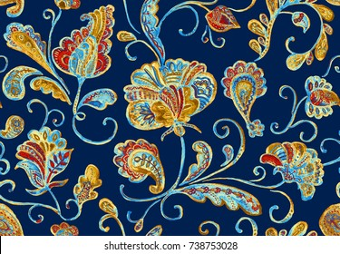 Paisley watercolor floral pattern tile with flowers, flores, tulips, leaves. Oriental traditional hand painted water color whimsical seamless print border for design. Abstract indian batik background.