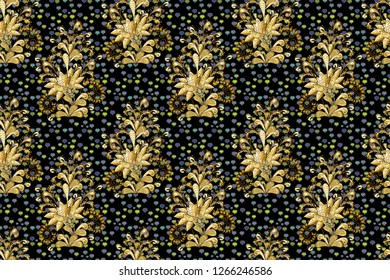 Paisleys elegant floral raster seamless pattern background wallpaper illustration with vintage stylish beautiful modern 3d line art gold and yellow, black, brown paisley flowers leaves and ornaments.