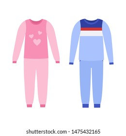 Pajama for girl, boy. Baby nightwear. Sleepwear isolated on white in flat design. Night clothes icons. Cartoon illustration. Clothing set. Apparel sketch. Garment silhouette.