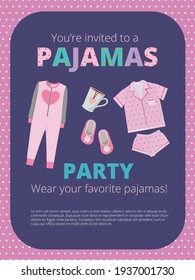 Pajama party poster. Invitation for night party kids and parents nightwear casual clothes great bed party
