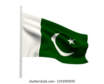 Pakistan flag floating in the wind with a White sky background. 3D illustration.