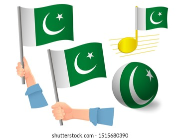 Pakistan flag icon set. National flag of Pakistan  illustration