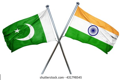 Pakistan flag with India flag, 3D rendering