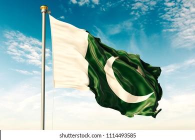 Pakistan flag on the blue sky with cloud. 3D illustration