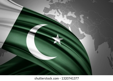 Pakistan flag of silk with copyspace for your text or images and world map background-3D illustration