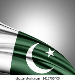 Pakistan flag of silk with copyspace for your text or images and white background-3D illustration