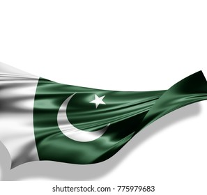 Pakistan flag of silk with copyspace for your text or images and white background -3D illustration