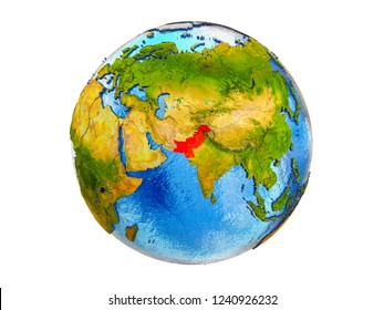 Pakistan on 3D model of Earth with country borders and water in oceans. 3D illustration isolated on white background.
