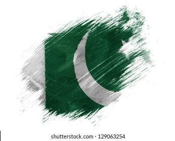 Pakistan. Pakistani flag painted with brush on white background
