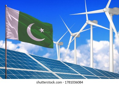 Pakistan solar and wind energy, renewable energy concept with windmills - renewable energy against global warming - industrial illustration, 3D illustration