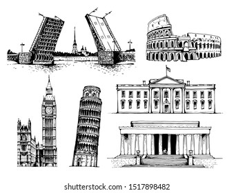 Palace Bridge and Peter and Paul Fortress, Coliseum, Elizabeth Tower (Big Ben), Tower of Pisa, White House, Lincoln Memorial illustration, world landmarks set isolated on white background