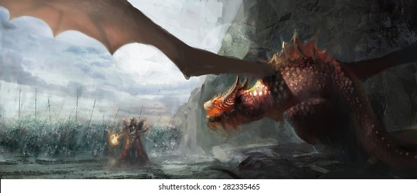 paladin with army fighting dragon