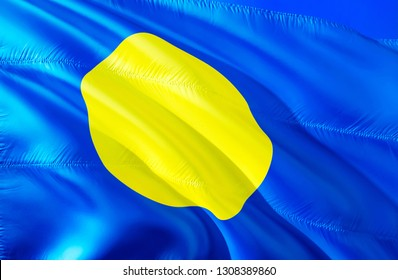 Palau flag. 3D Waving flag design. The national symbol of Palau, 3D rendering. National colors and National flag of Palau for a background. Oceania sign on smooth silk