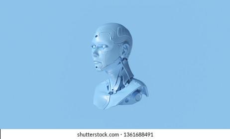 Pale Blue Cyborg Bust 3d illustration 3d render