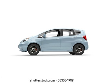 Pale blue metallic modern compact car - side view - 3D Illustration