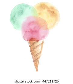 pale color ice-cream wiffle cone illustration. watercolor artwork.