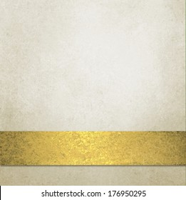 pale gold background design layout with shiny gold bronze ribbon stripe on bottom edge, soft grunge sponge texture,luxury soft off white yellow color with copy space for title or text