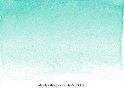 Pale green watercolor background Light turquoise hand painted watercolor texture Mint color