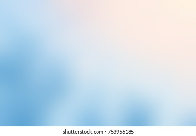 Pale orange sunshine on blue empty background. Heaven glow defocused illustration. Sky blurred texture. Watercolor abstract background.