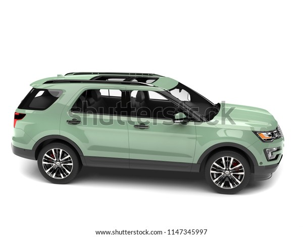 Pale pastel green modern SUV car - 3D Illustration
