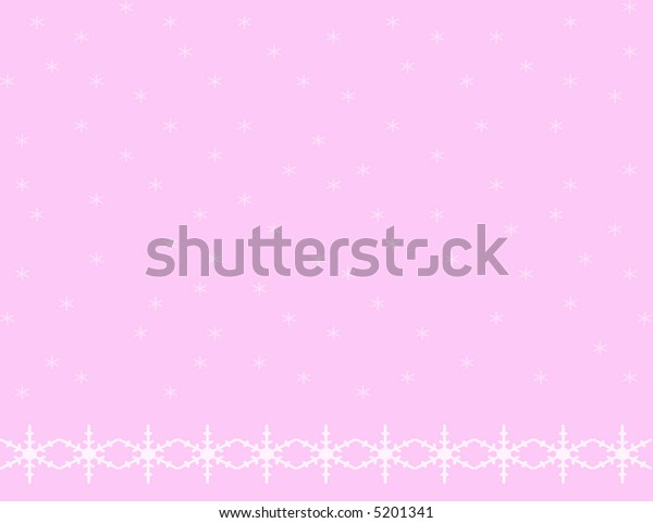 Pale pink background with small snowflakes falling and a bottom border of larger snowflakes.