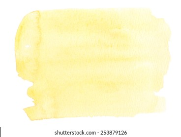 Pale yellow background painted in watercolor on white
