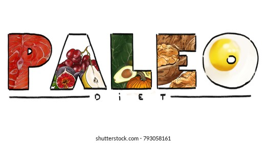 Paleo diet logo, letters filled with types of food